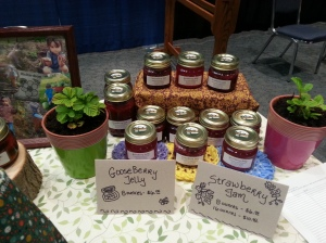 Strawberry jam and gooseberry jelly (the gooseberry bush that we have is about 35 years old!).
