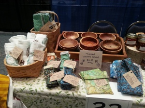 Channing's wooden bowls (turned on a wood lathe) and some of my homemade reusable household products.